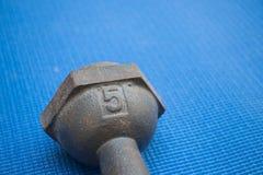 Planche la pesa de gimnasia 5 kilogramos en la estera azul de la yoga Foto de archivo