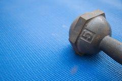 Planche la pesa de gimnasia 5 kilogramos en la estera azul de la yoga Imagen de archivo libre de regalías