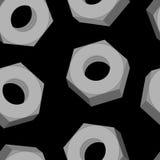 Planche las nueces en un modelo inconsútil del fondo negro Backgro del vector Fotografía de archivo