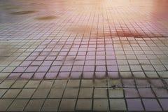 Plancher carrelé dans les taches et le champignon de sélection d'abus de toilette Le concept de l'humidité et de la saleté photos stock