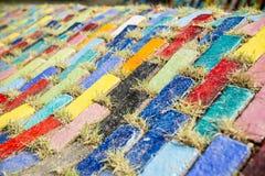Plancher coloré de bloc dans le garden3 Images stock