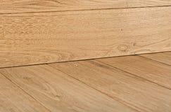 Plancher de bois dur de chêne avec le coin Photo stock