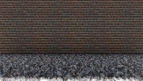 Plancher de vieux mur de briques et d'herbe sèche photo libre de droits