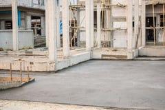 Plancher en béton en construction Photo stock