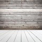 Plancher en bois abstrait et mur intérieurs et blancs images stock