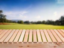Plancher en bois avec le champ vert et le ciel bleu photos stock