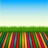 Plancher en bois de vecteur avec l'herbe, ciel Images stock