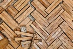 Plancher en bois endommagé photo libre de droits