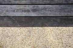 Plancher en bois et en pierre de couleur de ton deux Photos libres de droits