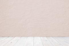 Plancher en bois et mur rugueux, conception de pièce de vintage Image libre de droits
