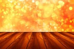Plancher en bois sur le bokeh brillant photos stock