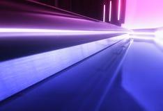 Plancher futuriste diagonal de vaisseau spatial avec le fond de réflexions images libres de droits