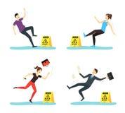 Plancher humide de précaution de bande dessinée avec des caractères de personnes réglés Vecteur illustration de vecteur