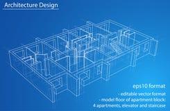 Plancher modèle de résidence Vecteur Photo stock