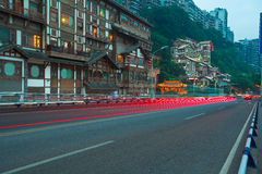 Plancher vide de route avec l'architecture antique de porcelaine Photo libre de droits