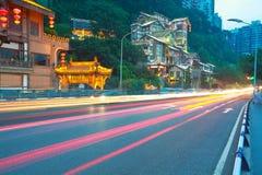 Plancher vide de route avec l'architecture antique de porcelaine Image libre de droits