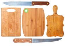 Planches à découper et couteaux de cuisine Photographie stock