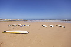 Planches de surf dans le sable Photos libres de droits