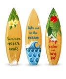Planches de surf en bois avec le type conceptions illustration de vecteur