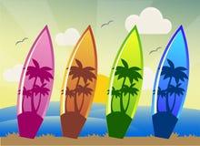Planches de surf de natation pour la saison de mer illustration de vecteur