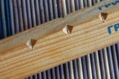 Planches en bois avec des trous sur le fond en bambou Photos stock
