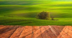 planches en bois avec le paysage italien sur le fond Photo stock