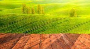 planches en bois avec le paysage italien sur le fond Image stock