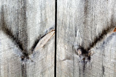 Planches en bois d'Odd Knots On Old Weathered Photographie stock libre de droits
