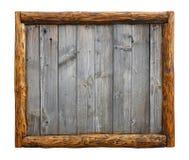 Planches en bois de vieux vintage avec le cadre de frontière de rondin images stock