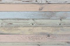 Planches en bois fond ou texture avec des planches de couleur en pastel photographie stock libre de droits