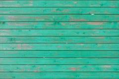 Planches en bois horizontales de vintage peintes avec la couleur verte Photographie stock