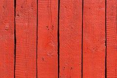 Planches en bois peintes par rouge Images stock