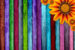 Planches et fleurs en bois Photographie stock libre de droits