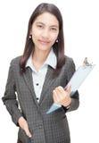 Planchette asiatique confiante de la femme d'affaires W Photographie stock libre de droits
