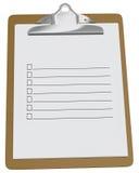 Planchette avec la liste de contrôle blanc Photo stock