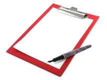 Planchette avec la page blanc Photo stock