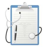 Planchette avec le stéthoscope illustration stock