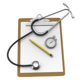 Planchette avec le stéthoscope sur le fond blanc Images stock