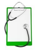 Planchette et stéthoscope médicaux photographie stock