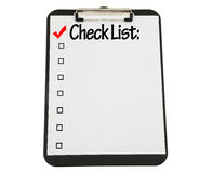 Planchette noire avec la liste de contrôle jointe Photos libres de droits