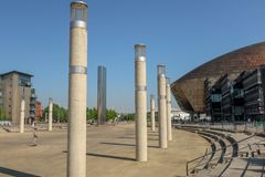 Planchiste de Roald Dahl Plass Cardiff Wales photo stock