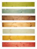 Plancia colorata del bordo di legno di pino isolata Fotografia Stock