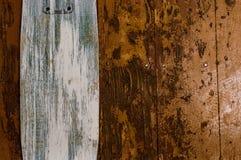 Plancia di legno di struttura con il consumato-bordo bianco Immagini Stock Libere da Diritti