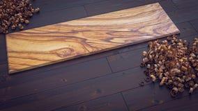 Plancia di legno verde oliva sul parquet con l'illustrazione c dei trucioli di legno 3d illustrazione di stock