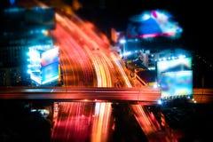 Plandeki przesunięcie Futurystyczny noc pejzaż miejski bangkok Thailand Zdjęcie Stock