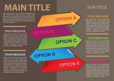 Plandesign von Papierfahnenpfeilen mit eigenem Bereich für Text. Lizenzfreie Stockbilder