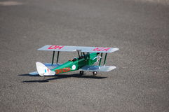 Plane. Old vintage remote controlled model or toy  biplane Stock Image