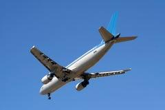 Plane. Landing or flying away stock photo