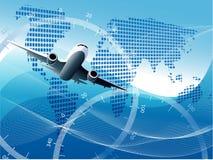 Plane. Illustration plane on blue globe on blue background Royalty Free Stock Image