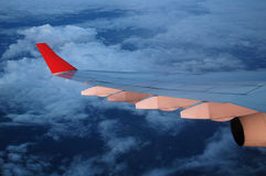 The plane. The wing of the plane Royalty Free Stock Photos